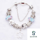 Flower and Swan Charms Bracelet