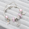 Pink Murano Glass Bead White ROSE flower Wings charms Bracelet