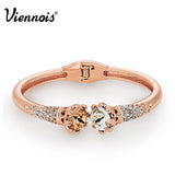 Viennois Flower Cuff Bangle  Rose Gold Plated Rhinestone Crystal Bracelets