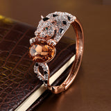 New Viennois Fashion Jewelry Rose Gold Plated Alloy Leopard Bangles