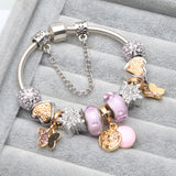 Gold and Silver Butterfly Heart and Star Charm Bracelet