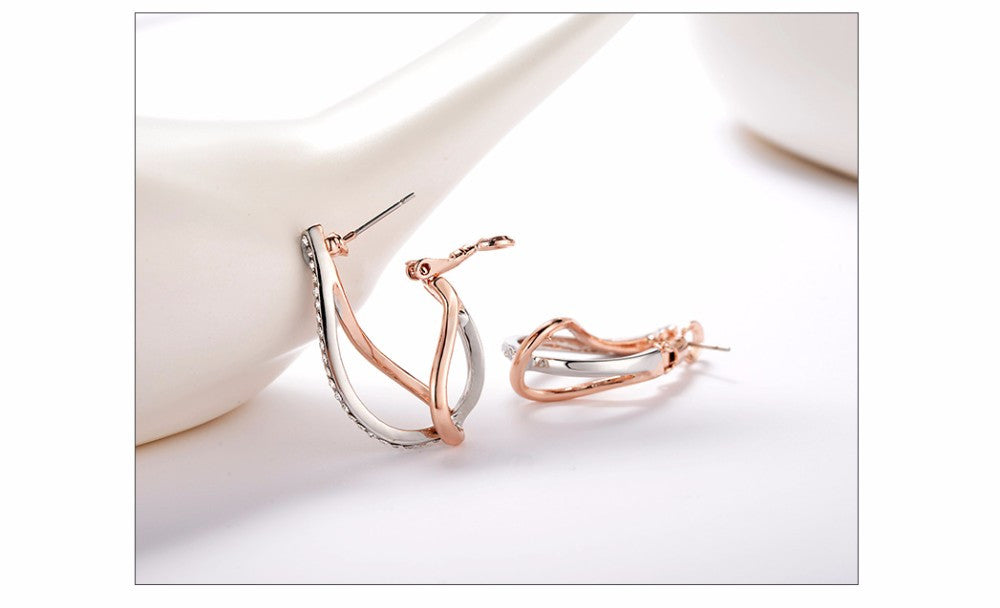 Viennois Geometric Hoop Earrings Rose Gold & Platinum Plated Rhinestones