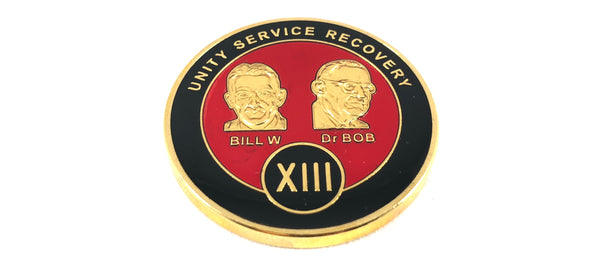 Bill and Bob Red on Gold Plated Medallions