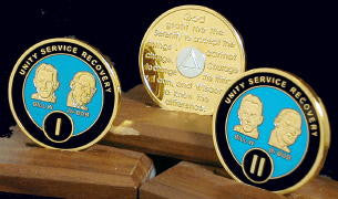 Bill & Bob Blue on Gold Plated Medallions