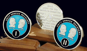 Bill & Bob Blue on Silver Plated Medallions