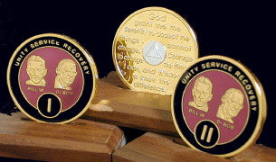 Bill & Bob Maroon on Gold Plated Medallions