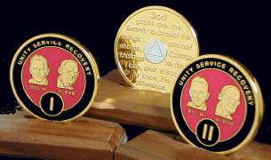 Bill & Bob Red on Gold Plated Medallions