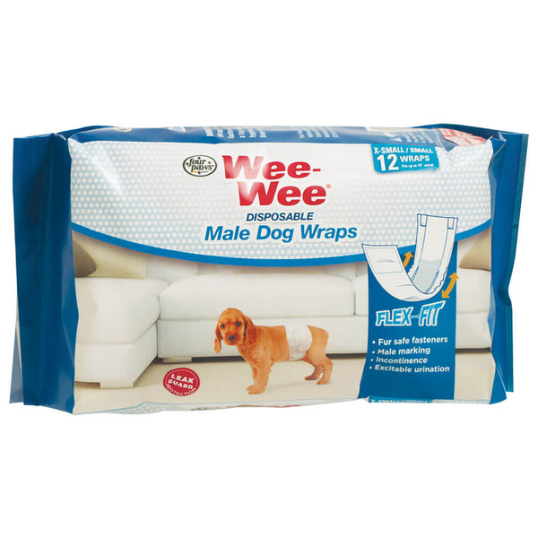 Wee-Wee Disposable Male Dog Wraps 12 pack