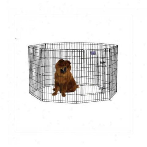 Black E-Coat Pet Exercise Pen with Walk-Thru Door 8 Panels