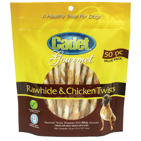 Premium Gourmet Rawhide and Chicken Twists Treats 50 pack