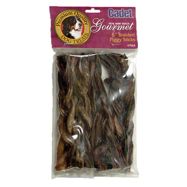 Braided Piggy Sticks 6 inches 4 pack