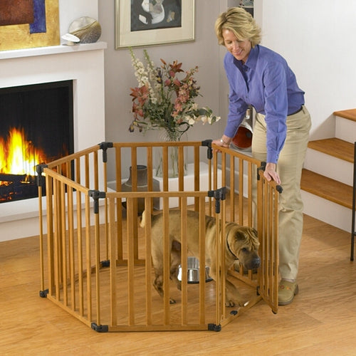 3-in-1 Wood Superyard Pet Pen 6 panel