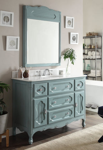 "48"" Victorian Cottage Style Knoxville Bathroom sink vanity Model GD-1522BU-48BS-MIR - Chans Furniture - 1"