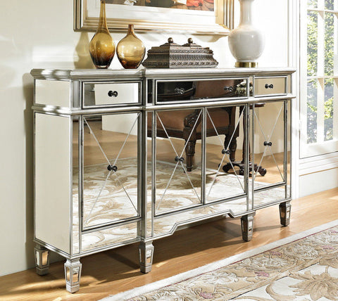 60-inch  Mirrore Relection Andrea Hall Console DH-695 (Silver) - Chans Furniture - 1