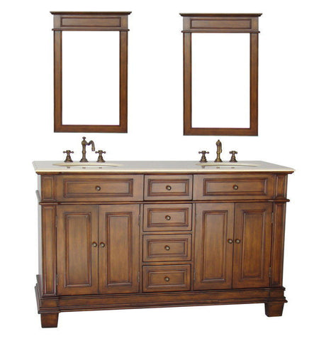 "60"" Timeless Classic Sanford Double Sink Bathroom Vanity & Mirrors Set # CF-3048M-60MIR - Chans Furniture - 1"