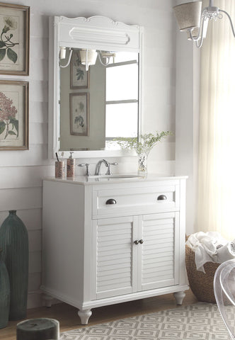 "34"" Cottage look White Glennville Bathroom Sink Vanity & mirror  Model CF-28667W-MIR - Chans Furniture - 1"