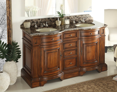 "60"" Double Sink Kleinburg Bathroom Sink Vanity Model #  33130BN - Chans Furniture - 1"