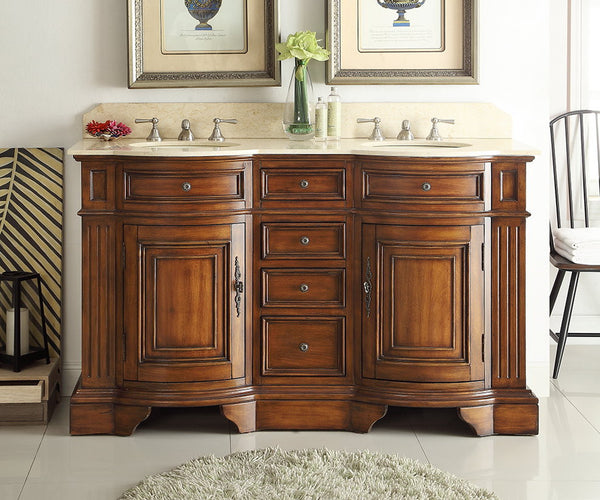 """Old World Bathroom Vanities: 60"""" Benton Collection Old Fashion Style Double Sink"""