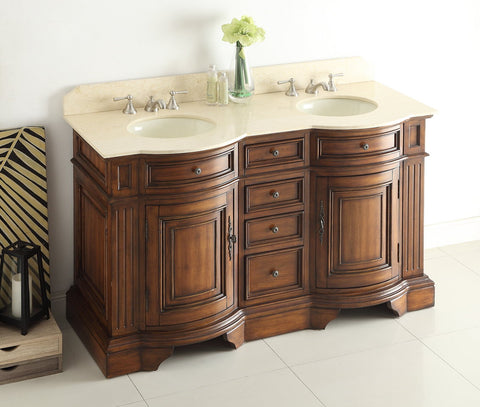 "60"" Old Fashion Style Double Sink Kleinburg Bathroom Vanity  model # 33130M - Chans Furniture - 1"
