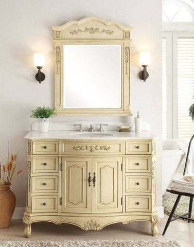 "42"" Classsic Style Pastel Beige Fairmont Bathroom Sink Vanity & Mirror Set  BC-3905W-LT-42MIR - Chans Furniture - 1"