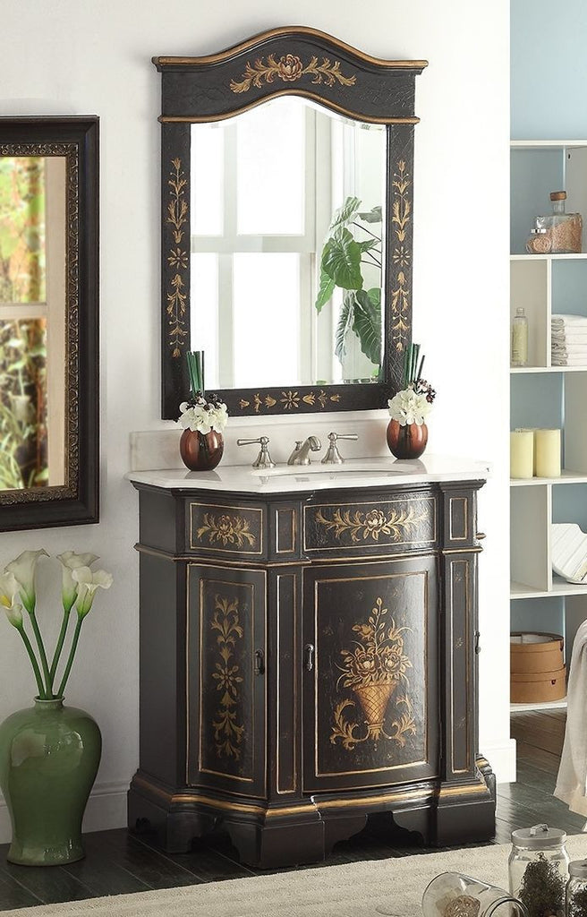 "35"" Hand painted Crossfield Bathroom Sink Vanity & Mirror HF-090BK-MR-09BK - Chans Furniture - 1"