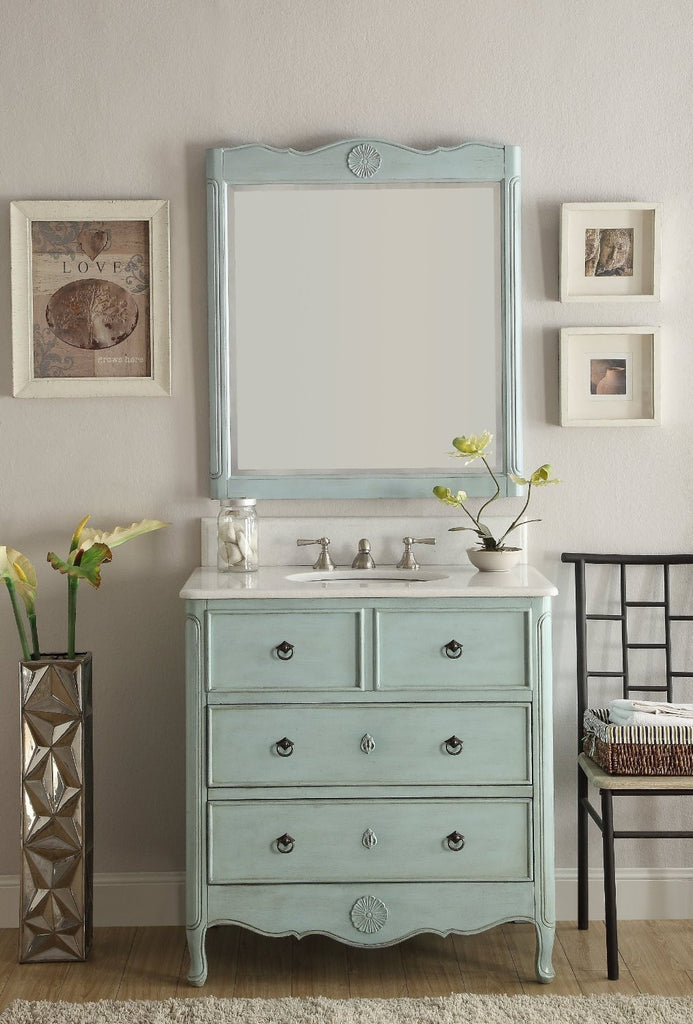 "34"" Distress Light Blue Daleville Bathroom Sink Vanity & Mirror HF-081LB-MR-832LB - Chans Furniture - 1"
