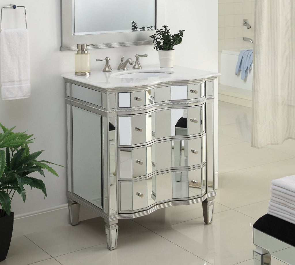 "30"" All mirror reflection 3 drawers Ashley Bathroom Sink Vanity   BWV-25-30 - Chans Furniture - 1"