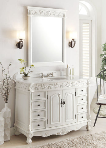 "48"" Antique White Florence Vanity & Mirror Set model # BC-036W-AW-48MIR - Chans Furniture - 1"
