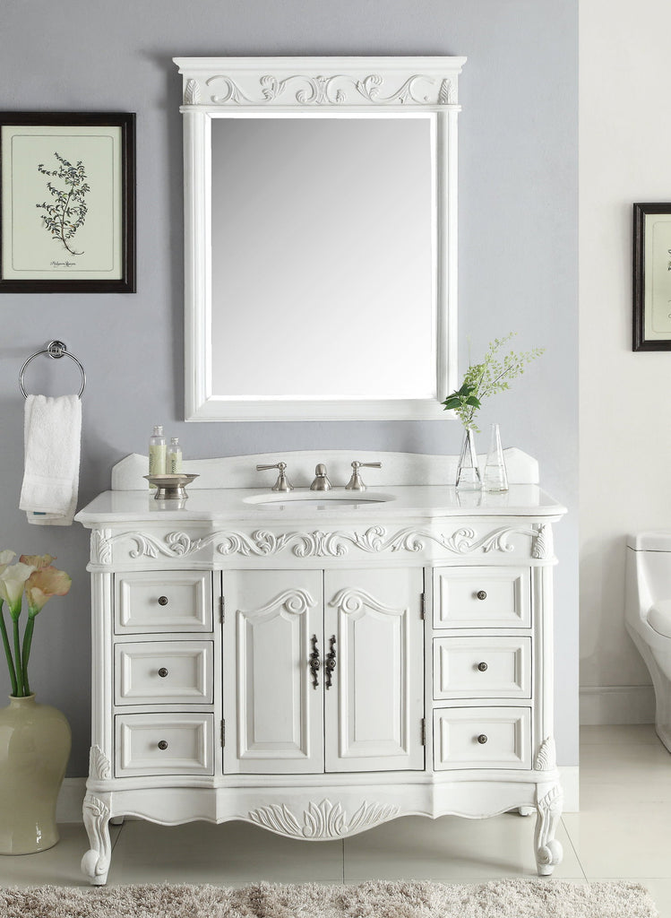"48"" Antique White Beckham Bathroom Sink Vanity & Mirror SW-3882W-AW-48-MIR-3882 - Chans Furniture - 1"
