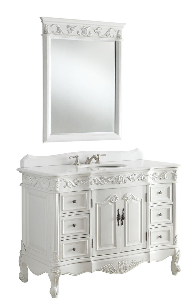 "42"" Antique white Beckham Bathroom Sink Vanity & Mirror SW-3882W-AW-42MIR - Chans Furniture - 1"