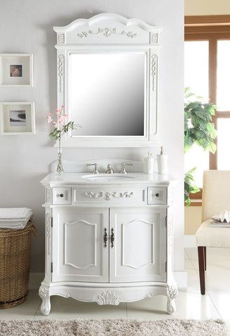 "36"" classic style antique white Fairmont Bathroom Sink Vanity & Mirror Set BC-3905W-AW-36MIR - Chans Furniture - 1"