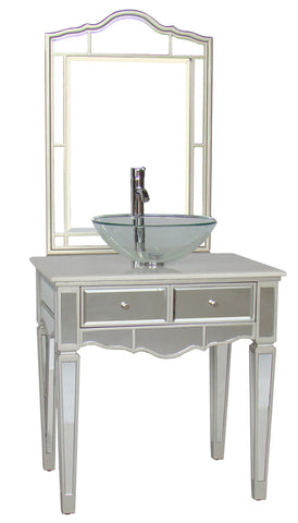 "30"" Mirror Reflection Alston Vessel Sink Bathroom Sink Vanity & Mirror Set model # BWV-015/30-FWM-015/2434 - Chans Furniture - 1"
