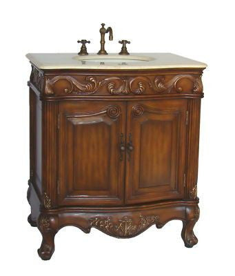 "32"" Traditional style cream marble Fiesta Bathroom Sink Vanity   CF-2873M-TK - Chans Furniture - 1"
