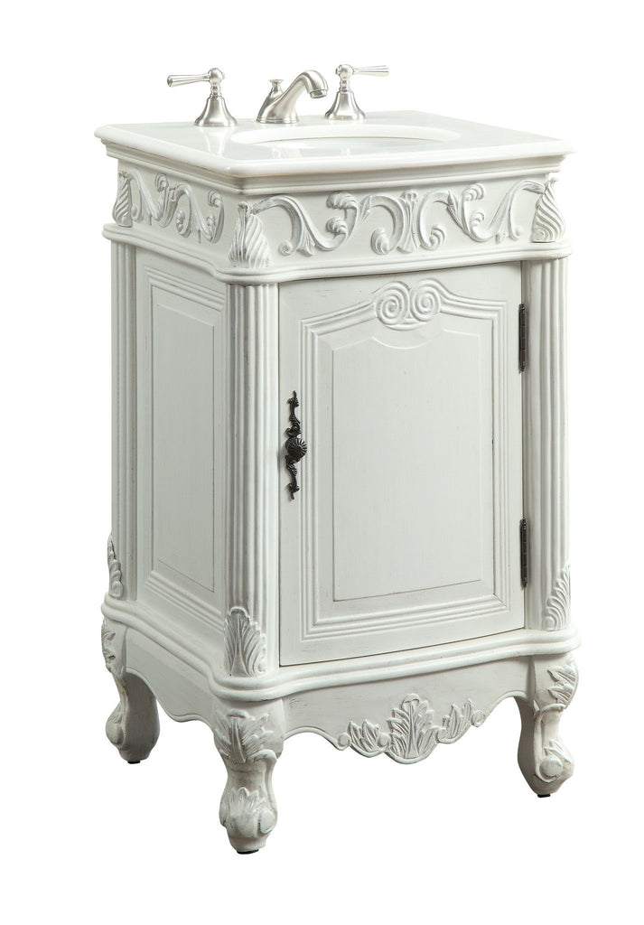 "21"" Petite Antique White Powder Room Stella Bathroom Sink Vanity CF-2801W-AW - Chans Furniture - 1"