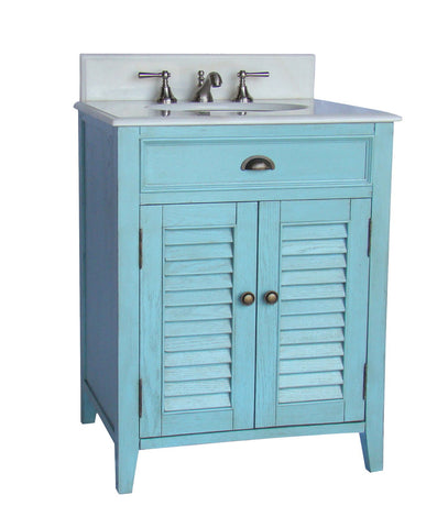 "26"" Light Blue Abbeville Bathroom Sink Vanity CF-28323LB - Chans Furniture - 1"
