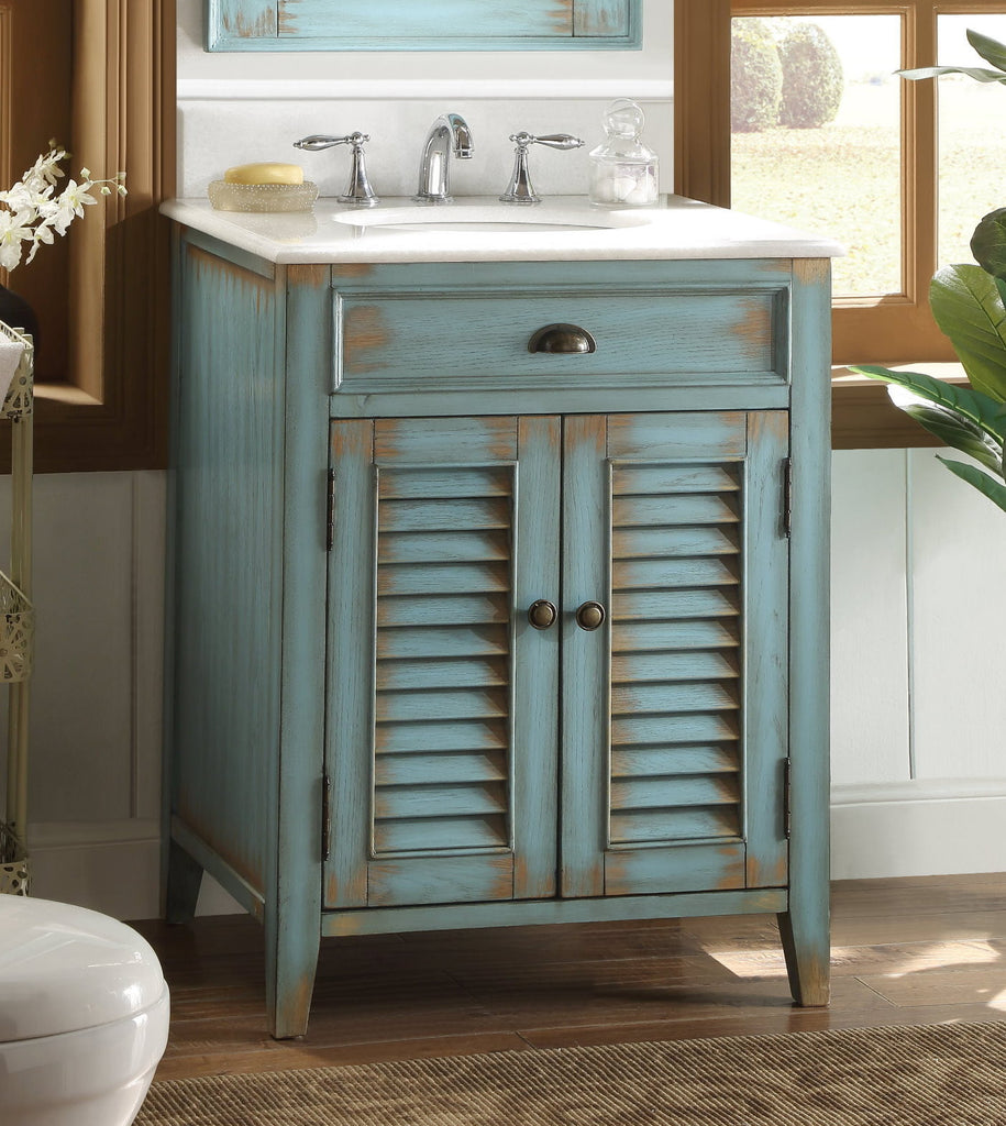 "26"" Distress Blue Abbeville Bathroom Sink Vanity CF-28883BU - Chans Furniture - 1"