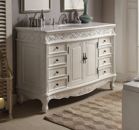 "56"" Antique white Beckham Bathroom Sink Vanity CF-3882W-AW-56 - Chans Furniture - 1"
