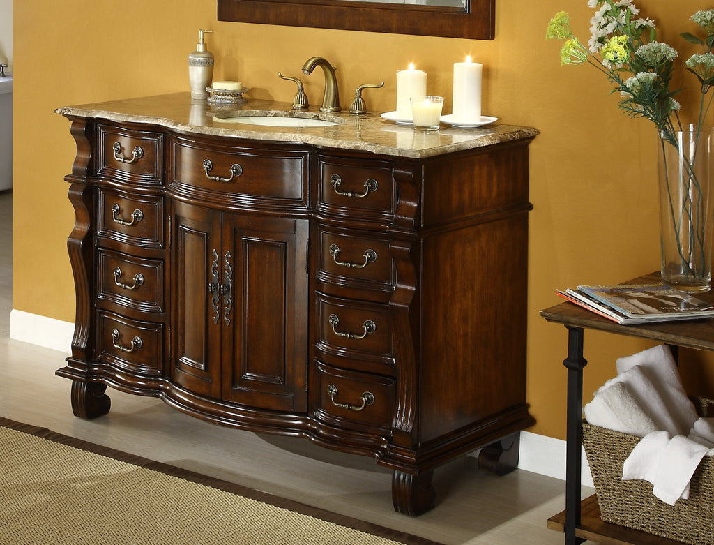 "60"" Old World Hopkinton Bathroom Sink Vanity Cabinet - GD-4437B-60 - Chans Furniture - 1"