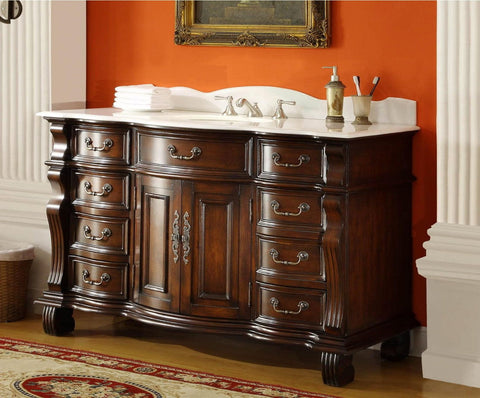 "60"" Old World Hopkinton Bathroom Sink Vanity Cabinet GD-4437W-60 - Chans Furniture - 1"