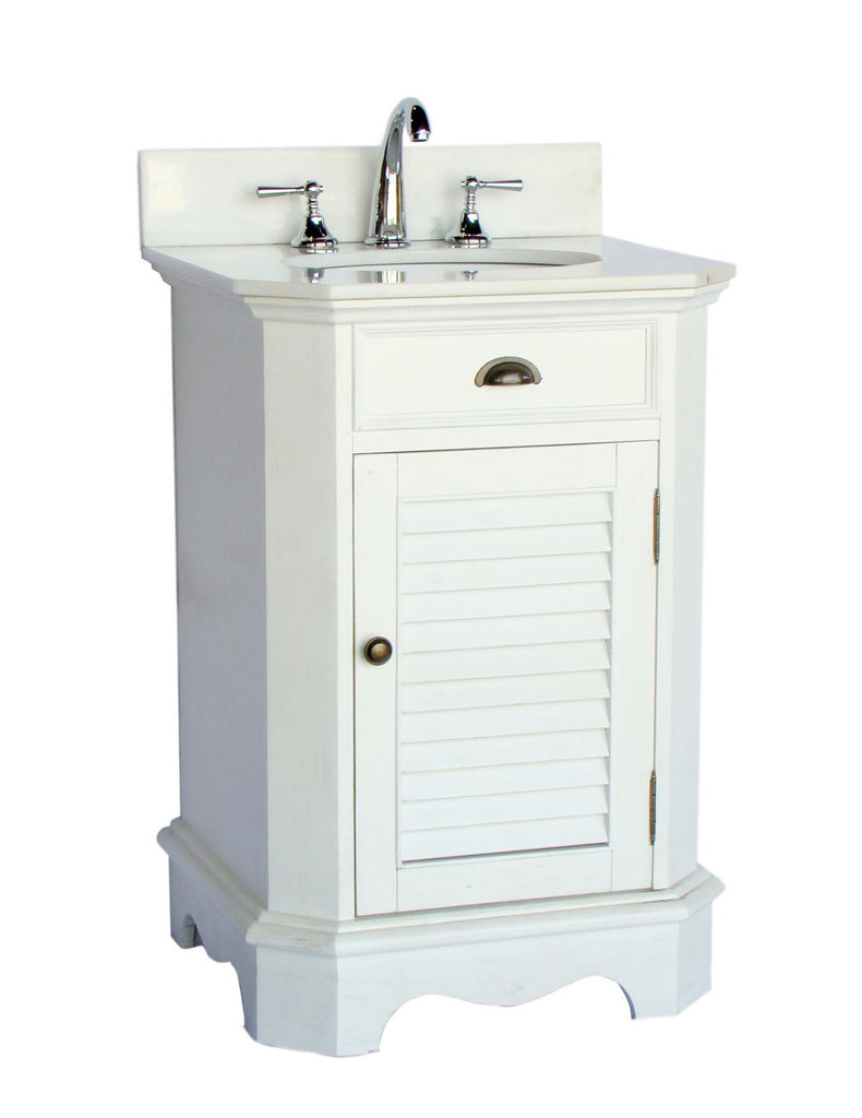 "24"" Cottage look white Abbeville Sink Vanity CF-47523W - Chans Furniture - 1"
