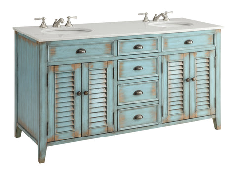"60"" Distress Blue Shutter Blinds Abbeville double sink bathroom sink vanity # CF-88323-60BU - Chans Furniture - 1"