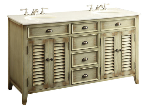 "60"" Distress Beige Shutter Blinds Abbeville double sink bathroom sink vanity # CF-88324-60W - Chans Furniture - 1"