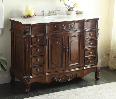 "56"" Classic style Morton Bathroom Sink Vanity CF-2815W-TK-56 - Chans Furniture - 1"
