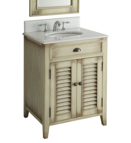 "26"" Cottage style Abbeville Bathroom Sink Vanity - CF28323W - Chans Furniture - 3"