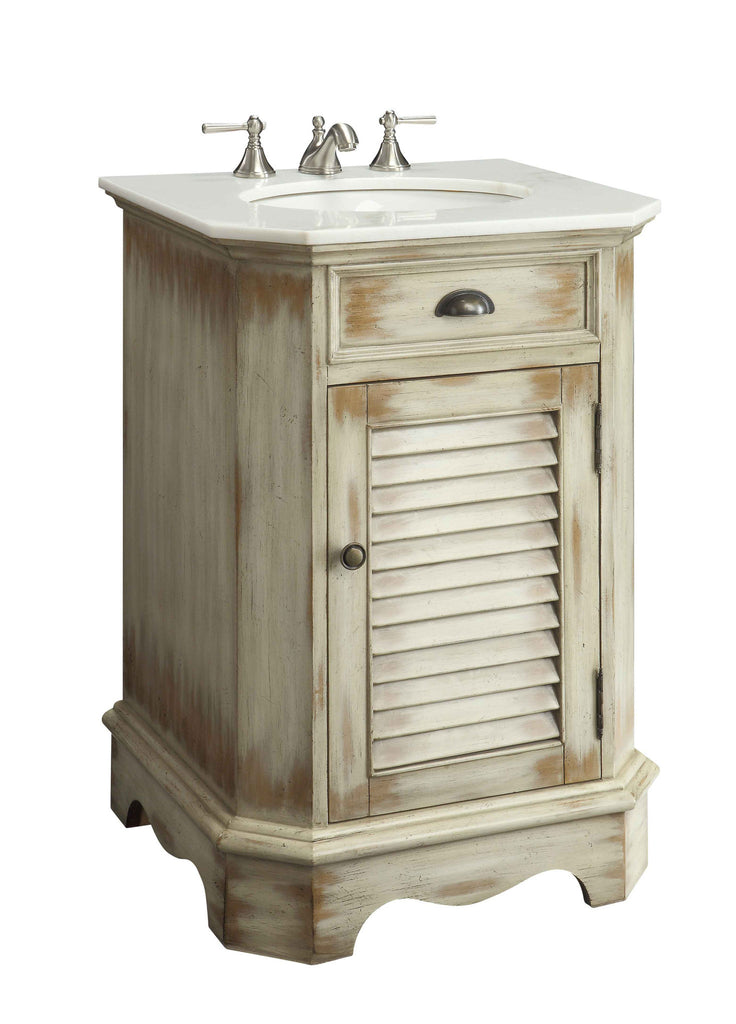 "24"" distress look Abbeville powder romm Sink Vanity - CF47523A - Chans Furniture"