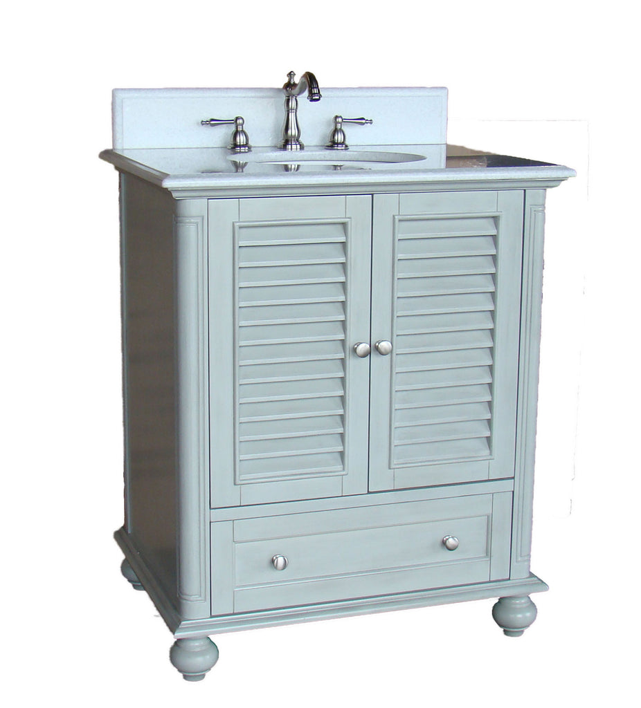 "30""  Shutter Blinds Keysville Bathroom Sink Vanity   GD-1087CK (Distressed Grey) - Chans Furniture - 1"