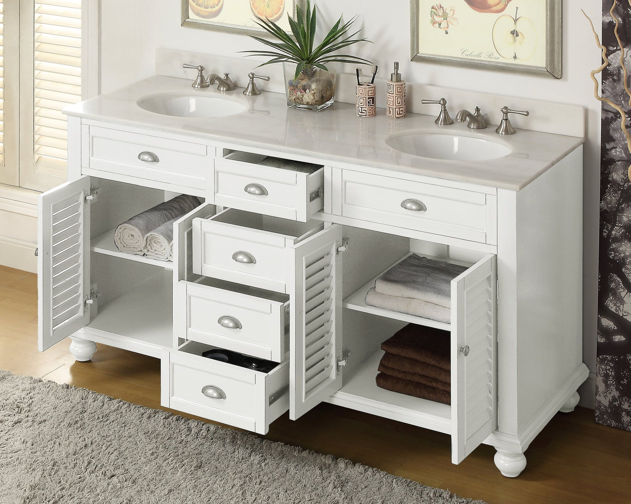 Cottage look glennville 60 inch vanity gd 21333 the for Looking for bathroom vanities