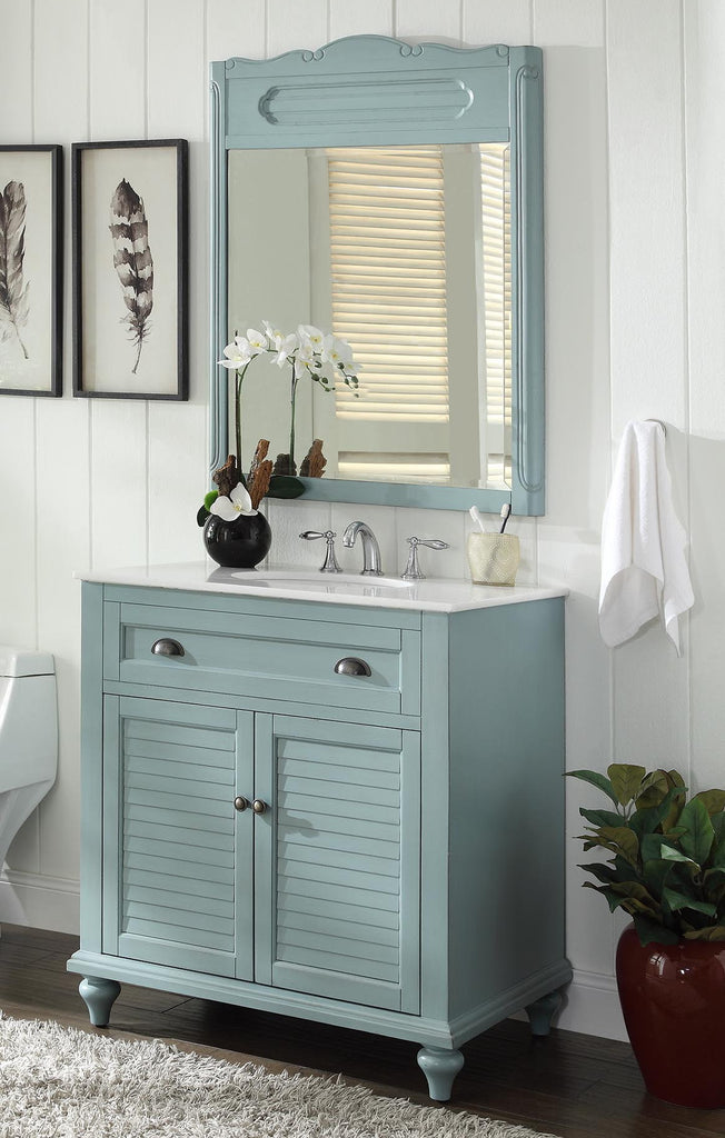 "34"" Cottage look Light Blue Glennville Bathroom Sink Vanity & mirror  Model CF-28668BU-MIR - Chans Furniture - 1"