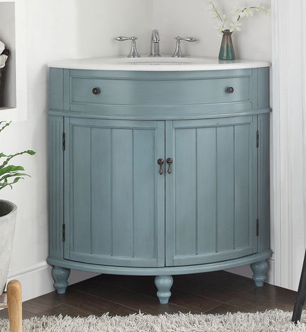 "24"" Light Blue Thomasville Corner bathrrom sink Vanity  # GD-47544BU - Chans Furniture - 1"
