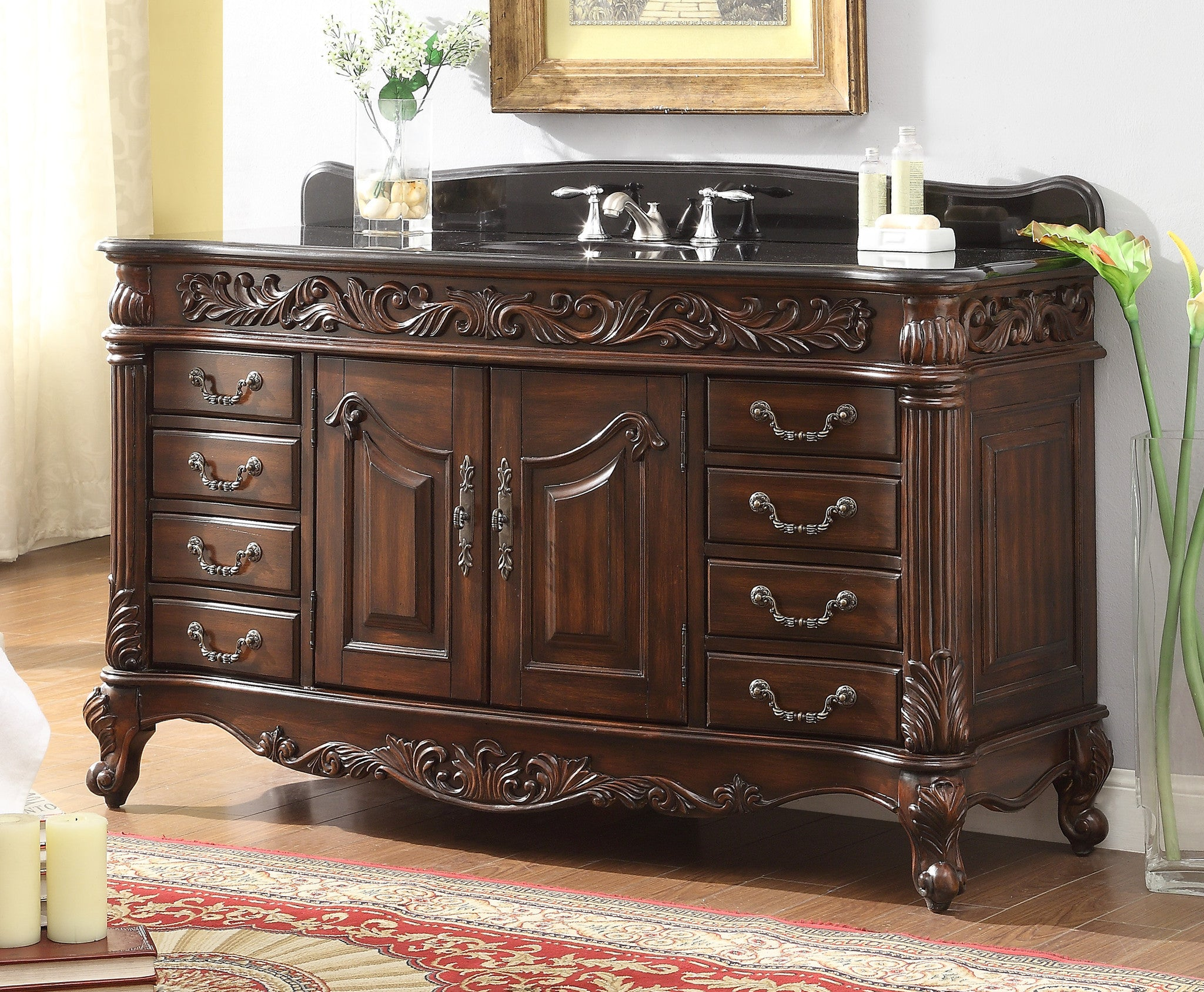60 benton collection old timer classic all wood black granite top